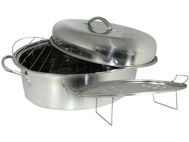 Cookpro 574 23-Pound 4 Pc Stainless High Dome Roaster and Fish Poacher