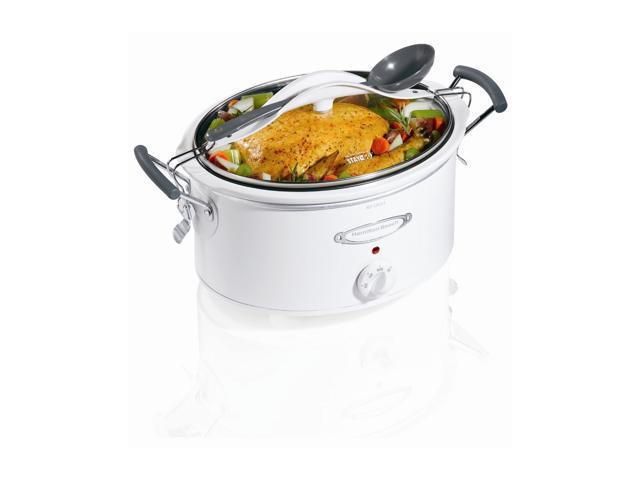 Hamilton Beach 33163 White 6 Qt. Stay or Go 6 Quart Slow Cooker