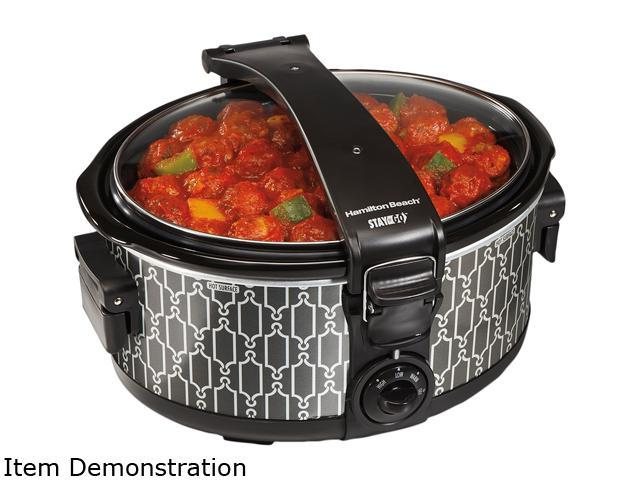 Hamilton Beach 33465 Black 6 Qt. Stay or Go 6 Quart Slow Cooker