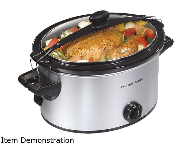 Hamilton Beach 33269 Silver 5 Qt. Stay or Go 5 Quart Slow Cooker
