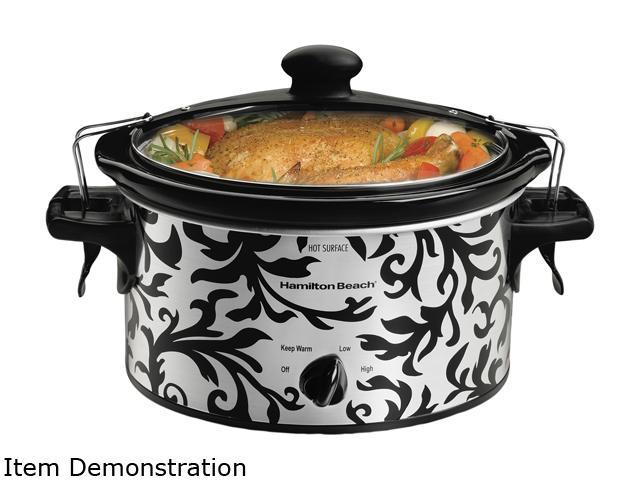 Hamilton Beach 33246T Black/Steel 4 Qt. Stay or Go 4 Quart Slow Cooker