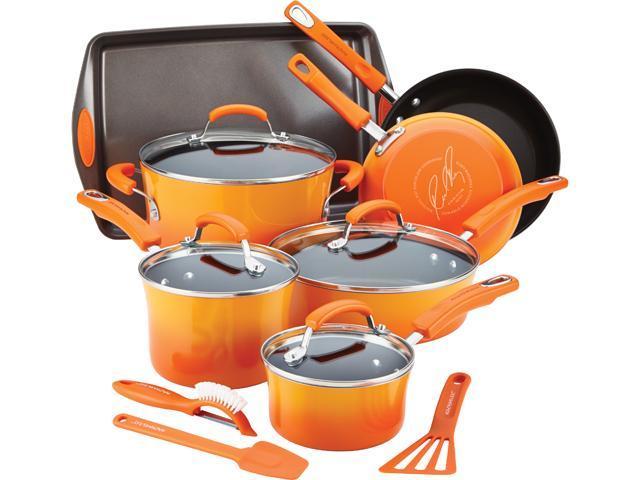 Rachael Ray 14611 Hard Enamel Nonstick 14-Piece Cookware Set Orange