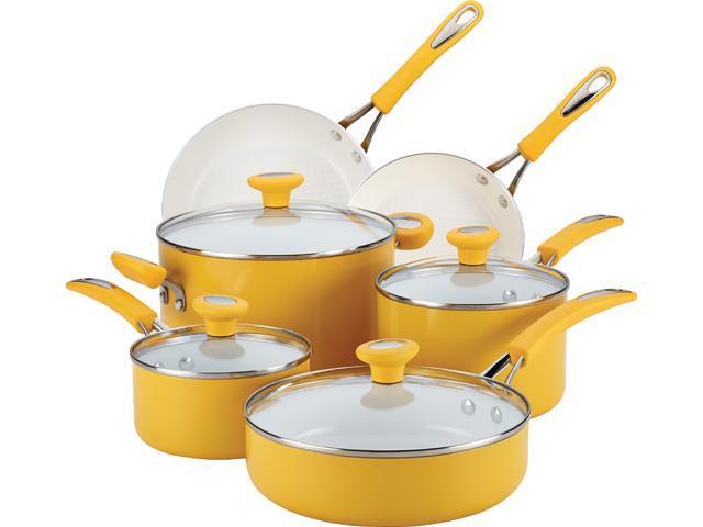 SilverStone 16049 Ceramic CXi Nonstick 12-Piece Cookware Set, Mango Yellow Yellow