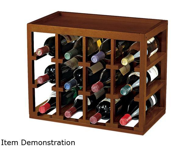 Wine Enthusiast 640 01 01 12-Bottle 12 Bottle Cube-Stack Wine Rack Walnut