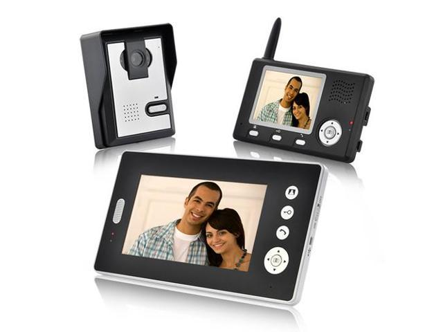 VIBOB Black Double Vision Guardian - Wireless Video Door Phone with Dual Receivers (CMOS Sensor)