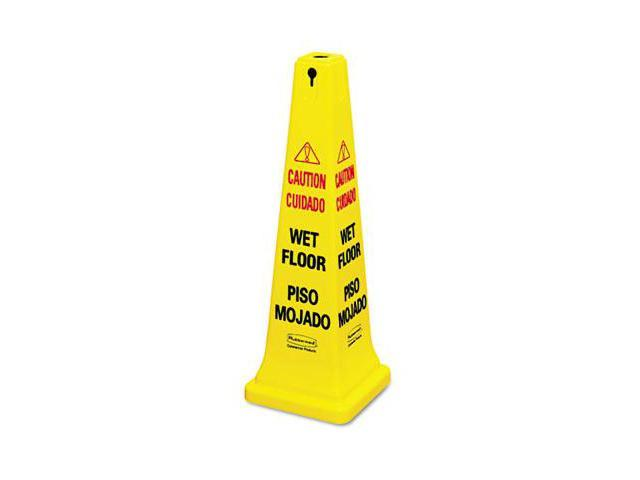 Rubbermaid Commercial 6276-77 Four-Sided Caution- Wet Floor Yellow Safety Cone- 12-1/4 x 12-1/4 x 36h
