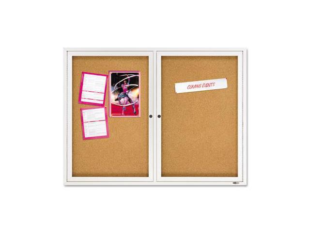Quartet 2364 Enclosed Bulletin Board- Natural Cork/Fiberboard- 48 x 36- Aluminum Frame