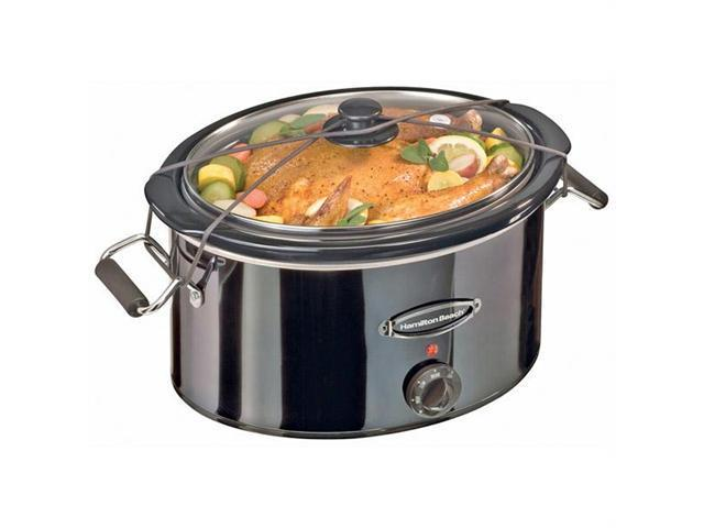 Hamilton Beach Black Ice Metal Collection 7-Quart Slow Cooker with Lid Rest