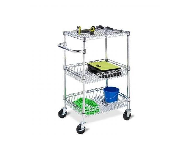 Honey Can Do CRT-01451 3-Tier Heavy Duty Rolling Utility Cart in Chrome