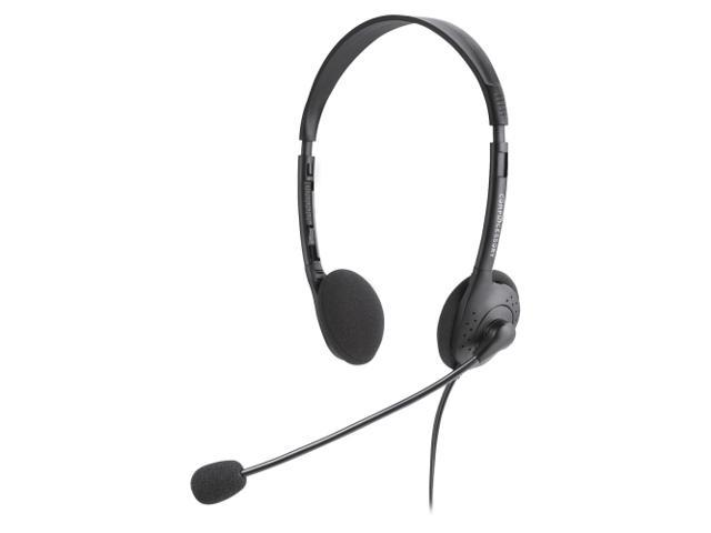 Compucessory CCS15154 Lightweight Stereo Headphones with Microphone, 71 in. Cord, BK