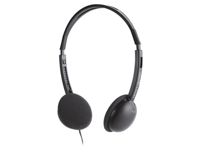 Compucessory CCS15151 Deluxe Lightweight Stereo Headphones, 71 in. Cord, Black