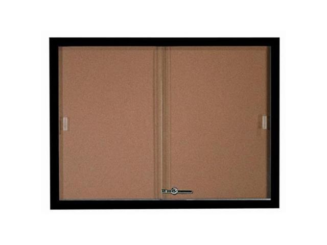 Aarco Products SBC3648BK Enclosed Bulletin Board Cork with Aluminum Frame - Black