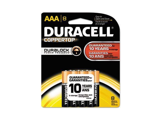 Duracell MN2400B8Z CopperTop Alkaline Batteries with Duralock Power Preserve Technology, AAA, 8-Pk