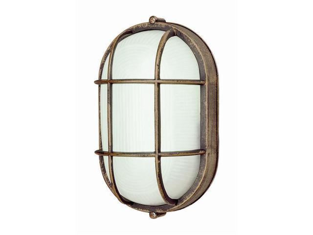 Trans Global Lighting PL-41015 RT Energy Efficient 1 Light Outdoor Oval Bulk Head - Rust