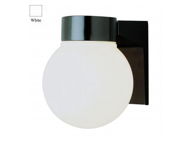 Trans Global Lighting PL-4800 WH Energy Efficient 1 Light Wall Outdoor 6 in. Opal Globe - White