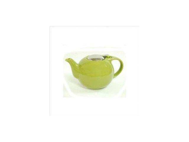 EVCO International 73289 Creative Home 48 oz. Green Ceramic Tea Pot with Stainless Steel Lid and Infuser