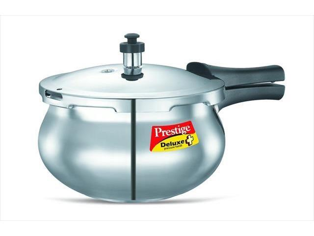 Prestige PRDAH2 Small Deluxe Plus New Flat Base Aluminum Pressure Handi for Gas and Induction Stove Silver - 2 Litres