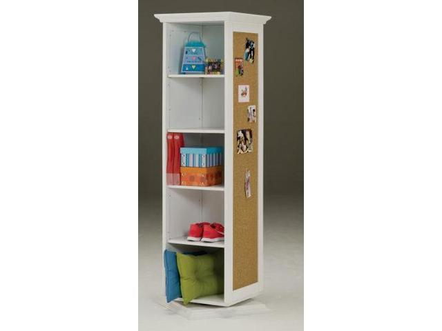 Bernards 7320 White Swivel Storage Cabinet With Corkboard-Mirror-Shelves