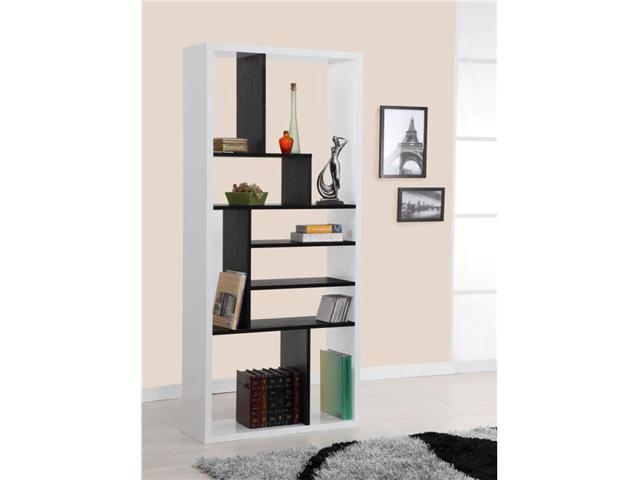 Enitial Lab YNJ-826BLK Keith Two-Tone Modern Bookcase-Display Stand- Black and white