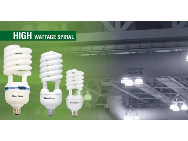 Overdrive 40W High Wattage Bulbs T4 Spiral-5000K Natural DL, Pack Of 12