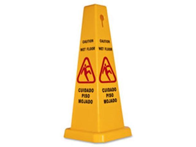 Genuine Joe GJO58880 Caution Safety Cone, 4-Sided, 10 in. x 10 in. x 24 in., Yellow
