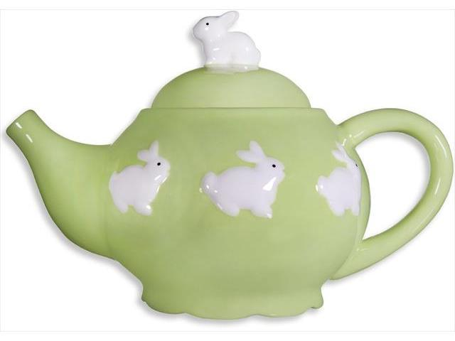 Home Essentials 90296 11 in. Spring Time Bunny Green Teapot