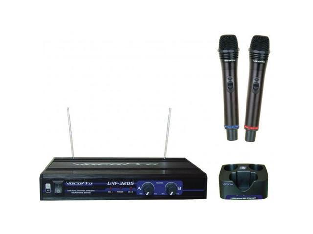 VocoPro UHF3205 UHF-Dual Dual-Channel UHF Rechargeable Wireless Microphone System