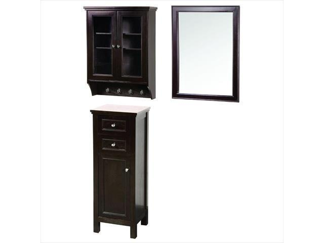 Foremost Group GAEM2432COMBO1 24 in. Gazette Mirror and Wall Cabinet with Glass Door and Floor Cabinet in Espresso