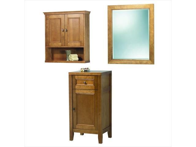 Foremost Group TRIM2434COMBO 24 in. Exhibit Mirror and Wall Cabinet and Floor Cabinet in Rich Cinnamon
