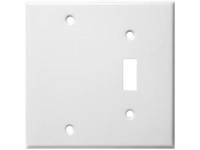 Morris Products 83412 Stainless Steel Metal Wall Plates 2 Gang 1Toggle 1Blank White