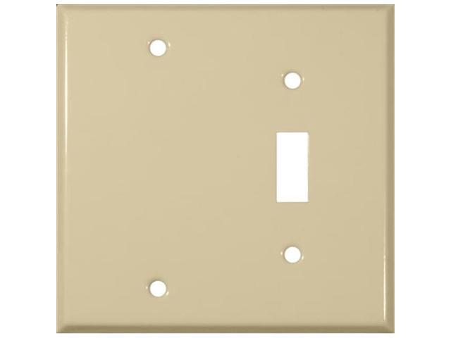Morris Products 83413 Stainless Steel Metal Wall Plates 2 Gang 1Toggle 1Blank Ivory