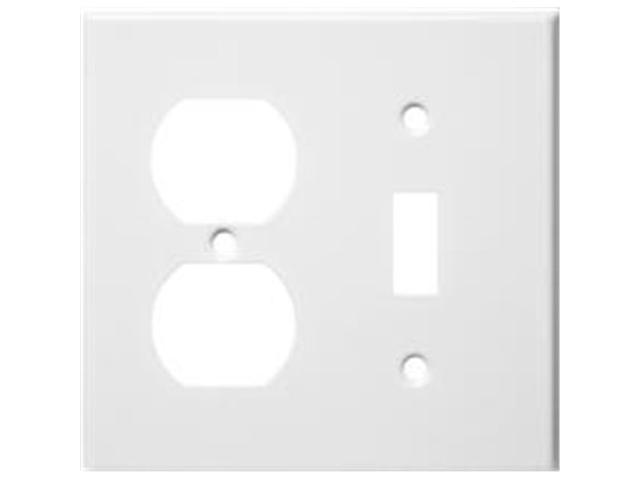 Morris Products 83422 Stainless Steel Metal Wall Plates 2 Gang 1Duplex 1Toggle White