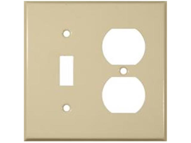 Morris Products 83423 Stainless Steel Metal Wall Plates 2 Gang 1Duplex 1Toggle Ivory