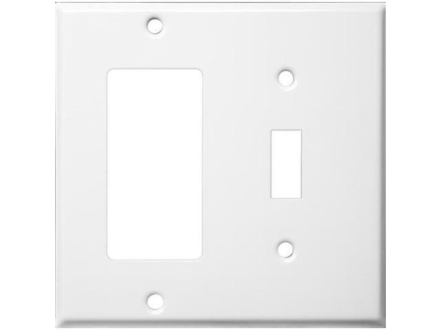 Morris Products 83432 Stainless Steel Metal Wall Plates 2 Gang 1Toggle 1GFCI White