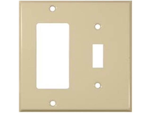 Morris Products 83433 Stainless Steel Metal Wall Plates 2 Gang 1Toggle 1GFCI Ivory