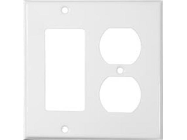 Morris Products 83442 Stainless Steel Metal Wall Plates 2 Gang 1GFCI 1Duplex White
