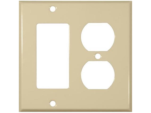 Morris Products 83443 Stainless Steel Metal Wall Plates 2 Gang 1GFCI 1Duplex Ivory