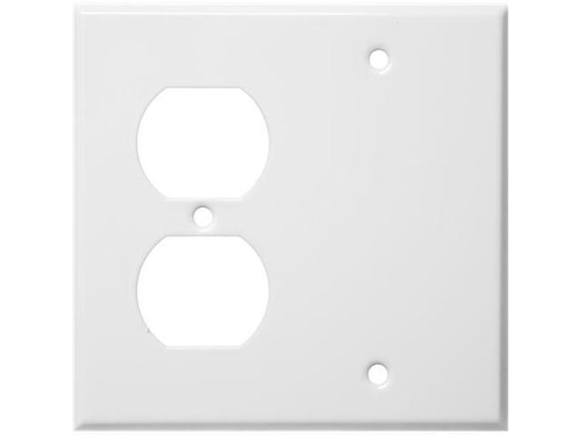 Morris Products 83542 Stainless Steel Metal Wall Plates 2 Gang 1Duplex 1Blank White
