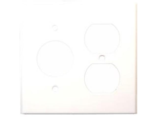 Morris Products 83552 Stainless Steel Metal Wall Plates 2 Gang 1Duplex 1Single White