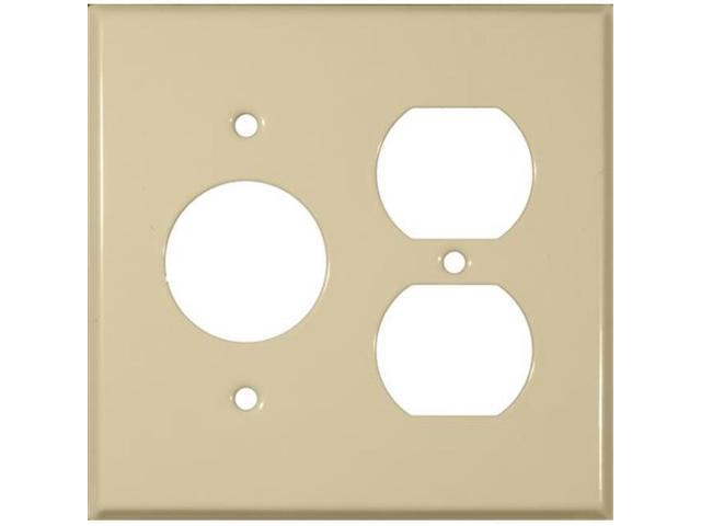 Morris Products 83553 Stainless Steel Metal Wall Plates 2 Gang 1Duplex 1Single Ivory