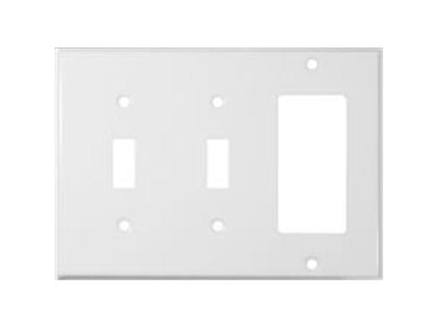 Morris Products 83582 Stainless Steel Metal Wall Plates 3 Gang 2 Toggle 1GFCI White