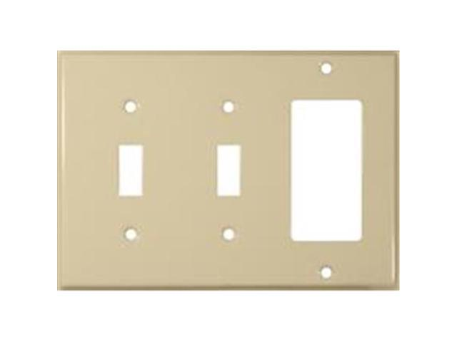 Morris Products 83583 Stainless Steel Metal Wall Plates 3 Gang 2 Toggle 1GFCI Ivory