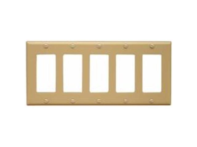 Morris Products 81150 Lexan Wall Plates 5 Gang Decorator - GFCI Ivory