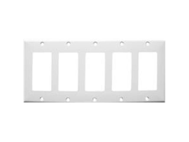 Morris Products 81151 Lexan Wall Plates 5 Gang Decorator - GFCI White