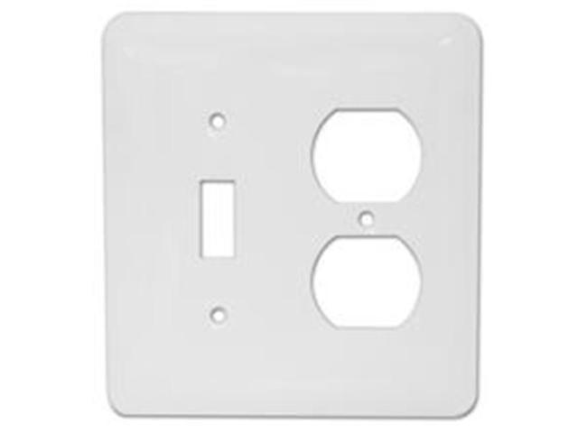 Morris Products 83672 Stainless Steel Metal Wall Plates Midsize 2 Gang 1Toggle 1Duplex White