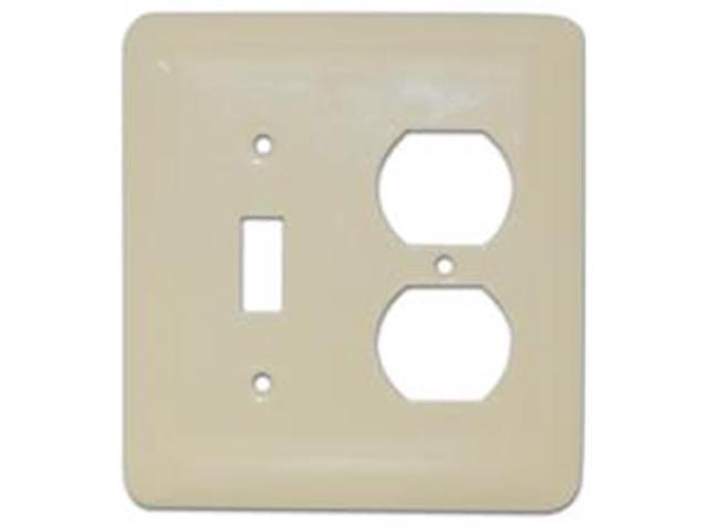 Morris Products 83673 Stainless Steel Metal Wall Plates Midsize 2 Gang 1Toggle 1Duplex Ivory