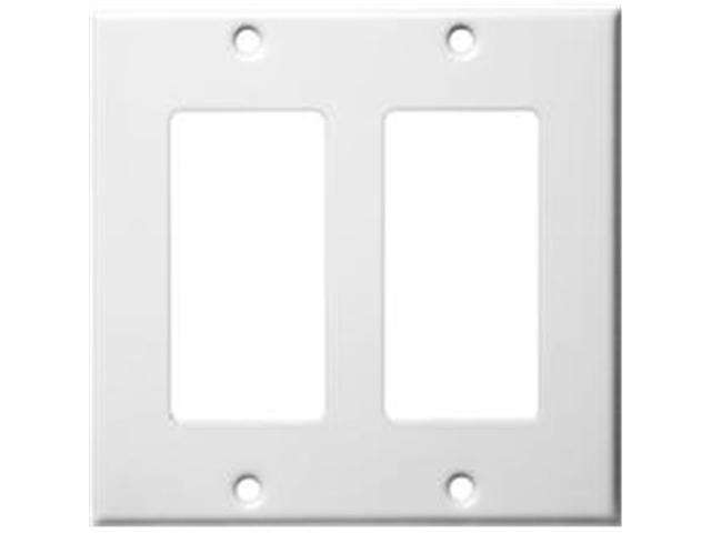 Morris Products 83122 Stainless Steel Metal Wall Plates 2 Gang Decorator - GFCI White