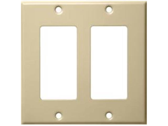 Morris Products 83123 Stainless Steel Metal Wall Plates 2 Gang Decorator - GFCI Ivory