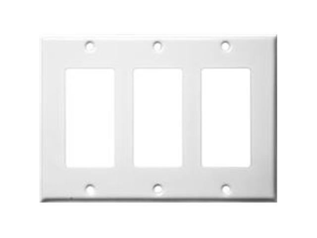 Morris Products 83132 Stainless Steel Metal Wall Plates 3 Gang Decorator - GFCI White