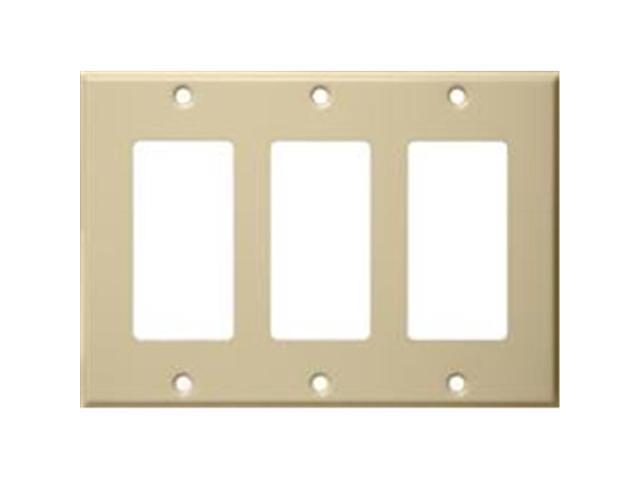 Morris Products 83133 Stainless Steel Metal Wall Plates 3 Gang Decorator - GFCI Ivory